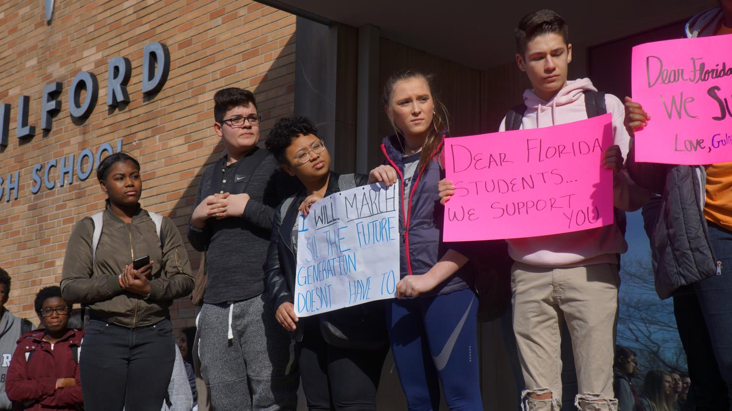 Guilford High School walks out to advocate for safer schools