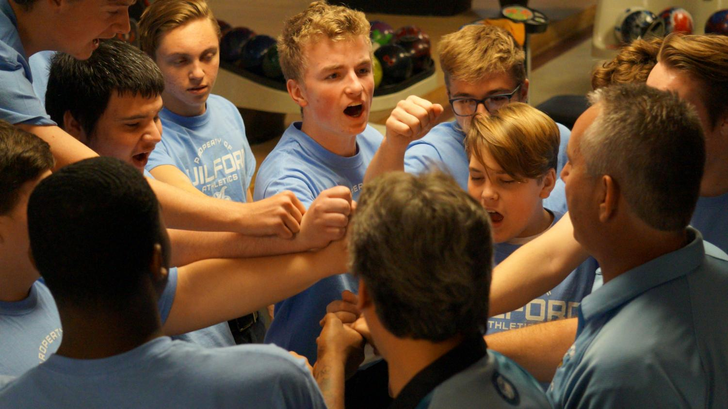 G-Vikes on three: Bowlers Devan Skridla, Wyatt Derry, Job Salberg, Logan Taylor and Coach Jeff Barabas get hyped before taking 3rd place at the Rockford Christian Invite Tournament