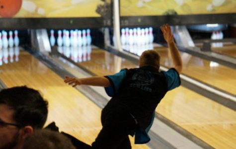 Bowling team Captain  Devan Skridla, freshman, rolls a strike at the Harlem Huskie invite on November 30th.  Skridla was an IESA state champion, both at the individual and team level, last year at Eisenhower MS.