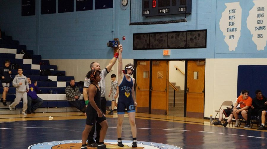 Armando Dunn (11) wins his match At the wrestling meet on December 6th