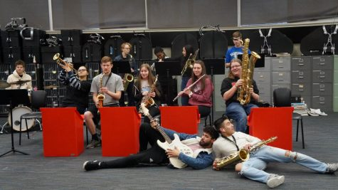 Jazz Band relaxes between practicing songs.