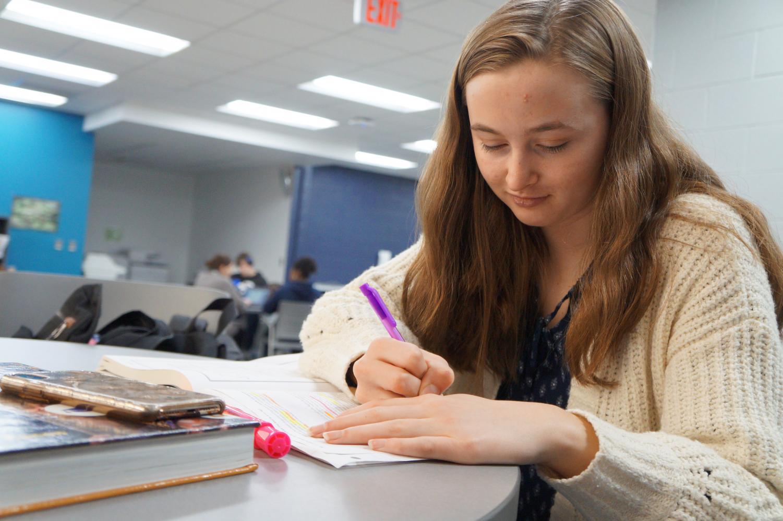 Caitlin Ehrhardt, 12 studies for her upcoming finals.
