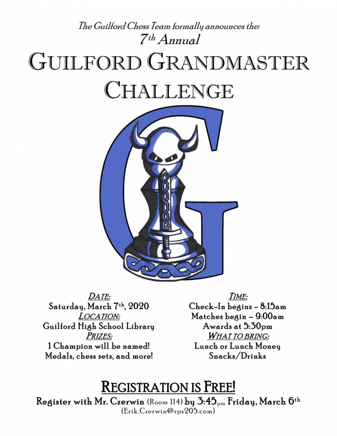 Official poster for the 7th Annual Guilford Grandmasters chess tournament