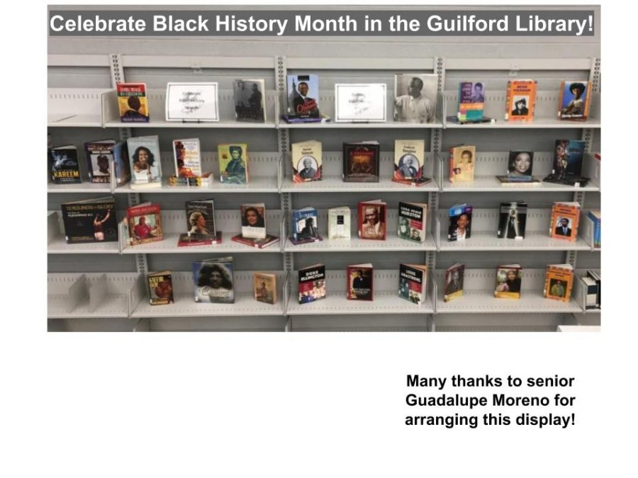 The Black History Month collection in the Guilford library.
