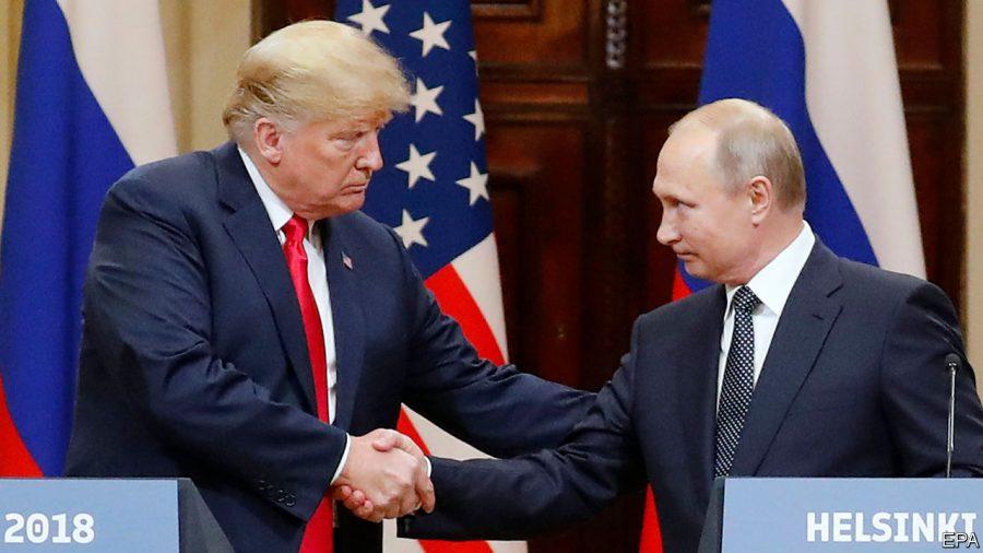 U.S. President Donald Trump and Russian President Vladmir Putin meeting in 2018. Credit The Econimist.
