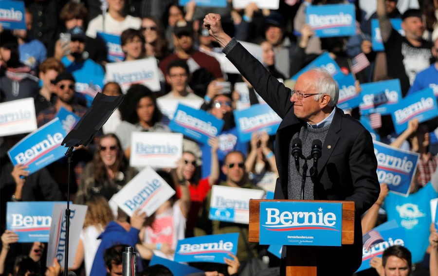 Bernie Sanders at a rally. Credit: The Nation