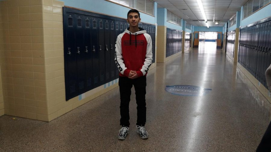 Sophomore Abdul Al-Sammarraie shows off his Nikes, a prized Christmas gift.