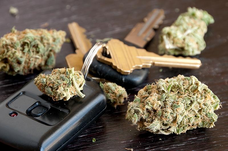 Driving under the influence of marijuana concept.