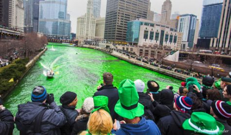 The river dyed green during the St. Patricks Day parade in downtown Chicago. Credit: ChicagoNow