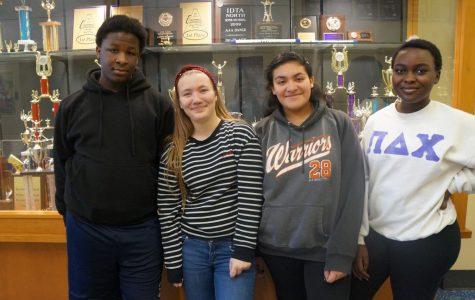 Happy to be in second semester: Freshmen Derrick Allen, Milica Andjelic, Natalia Granados, and Ester Amina.