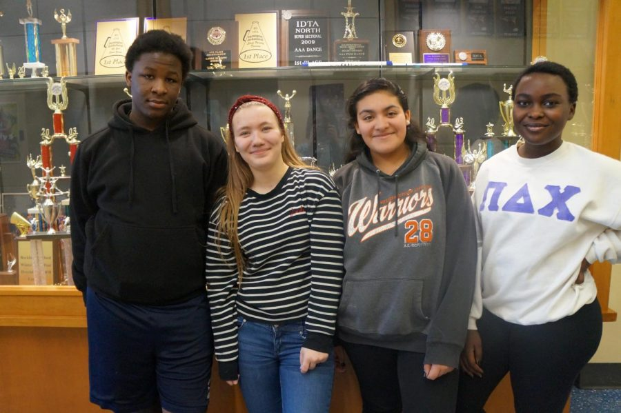 Happy to be in second semester: Freshmen Derrick Allen, Milica Andjelic, Natalia Granados, and Ester Amina.