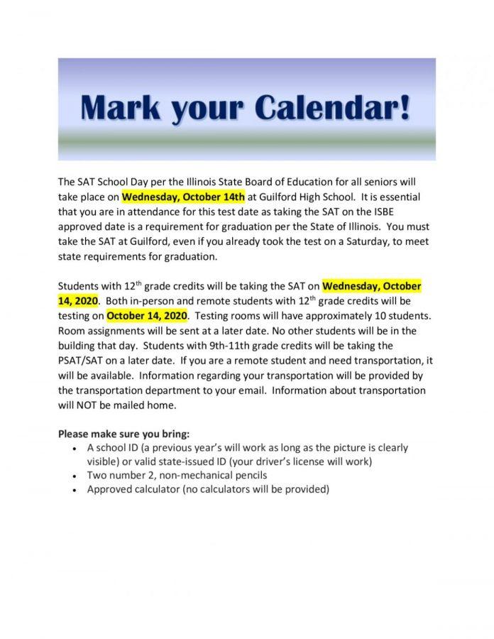 SAT Testing Date for Seniors 2020