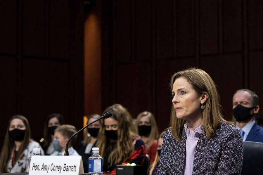 Honorable Amy Coney Barrett during a Senate Hearing. Credit: Philidelphia Inquierer