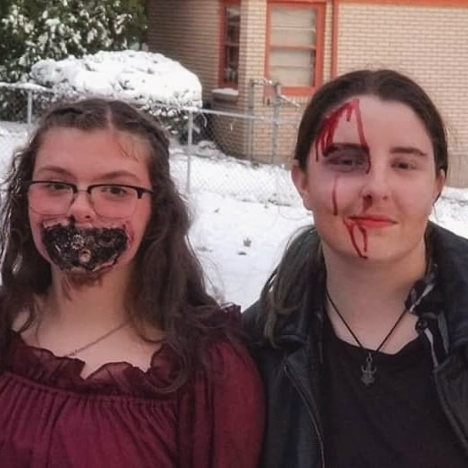 Senior Elli Cabello (Steampunk Zombie) and sophomore Landen Wilhelms (Dean from Supernatural) get ready for scares on last year's snowy Halloween.