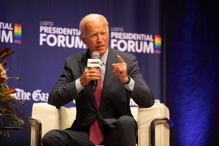 Joe Biden at LGBTQ panel. Image Credit: The New York Times