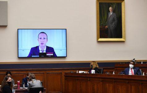 Mark Zuckerburg on screen at a US Senate hearing Wednesday. Image Credit: Engadget
