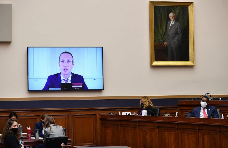 Mark Zuckerburg on screen at a US Senate hearing Wednesday. Image Credit: Engadget