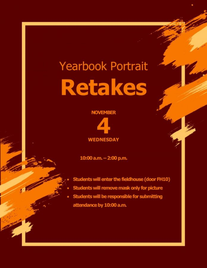 Yearbook Picture Retakes are on November 4th