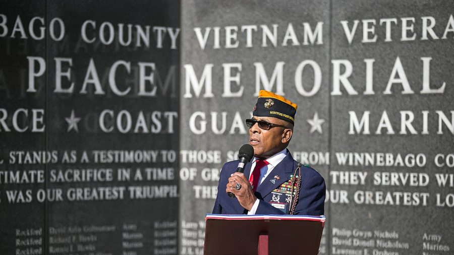 Stanley Curly Thompson speaks at the LZ Peace Memorial in Rockford. Image Credit: Rockford Register Star