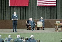 11/21/1985 President Reagan and Mikhail Gorbachev at the Geneva Summit joint statement in Geneva Switzerland