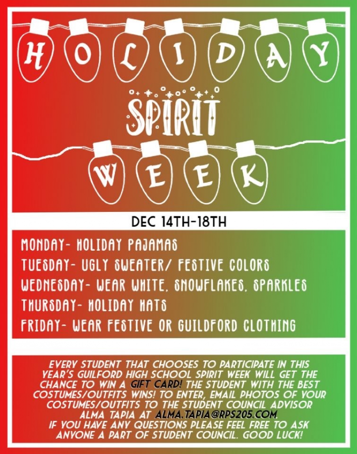 Win a giftcard! Holiday Spirit Week starts December 14th