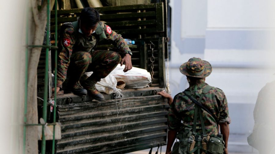 Soldiers during the coup in Myanmar. Image Credit: The Wallstreet Journal