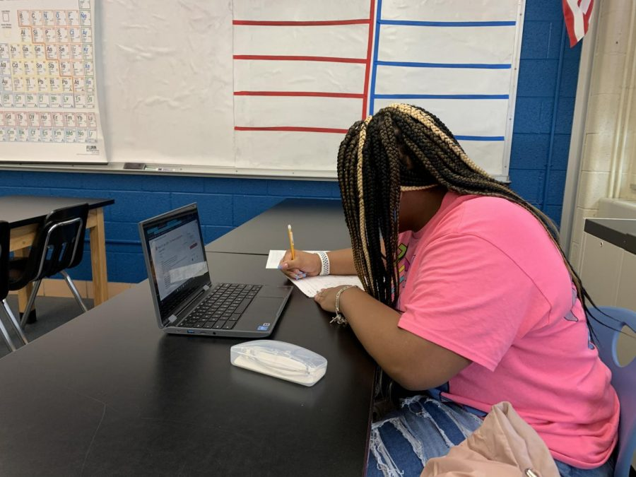 Trinity Miller(10) works on an assignment during Chemistry class.