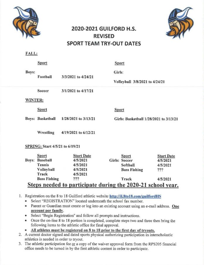 NEW 2021 Sport Tryout Dates
