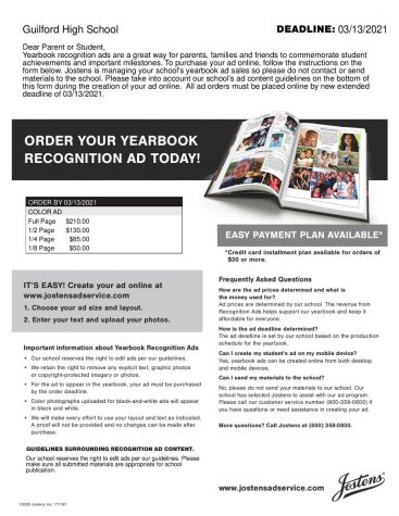 Buy your yearbook recognition ad now!