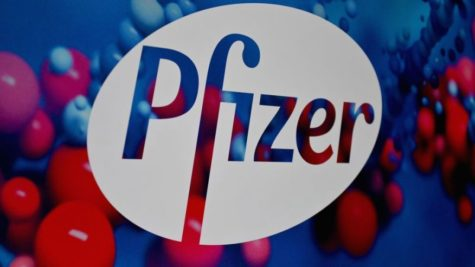 The Pfizer logo is seen at the Pfizer Inc. headquarters on December 9, 2020 in New York City. (Photo by Angela Weiss / AFP) (Photo by ANGELA WEISS/AFP via Getty Images)