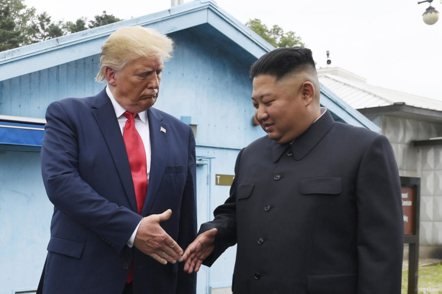 FILE - In this June 30, 2019, file photo, North Korean leader Kim Jong Un, right, and U.S. President Donald Trump prepare to shake hands at the border village of Panmunjom in the Demilitarized Zone, South Korea. North Korea said it