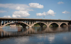 Jefferson Street Bridge over the Rock River in downtown Rockford is one of 41 bridges in Winnebago County labeled as