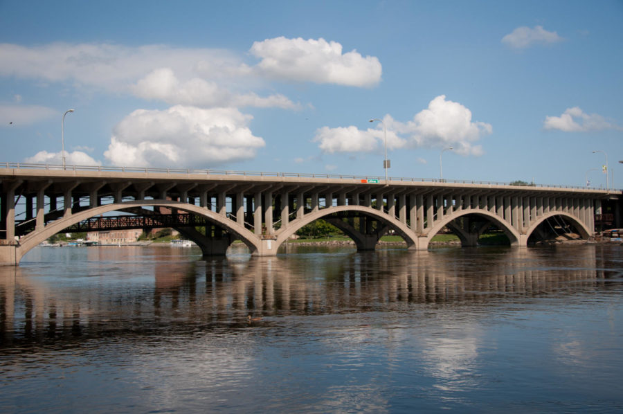 """Jefferson Street Bridge over the Rock River in downtown Rockford is one of 41 bridges in Winnebago County labeled as """"structurally deficient"""" according to the Federal Highway Administration. Image: Wikimedia"""