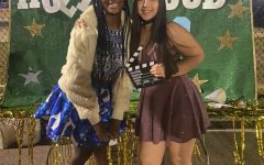 Sophomores Anna Jones and Belen Lopez take advantage of the photo booth.